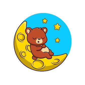 Orso sveglio che dorme sull'illustrazione del fumetto della luna. concetto di natura animale isolato fumetto piatto