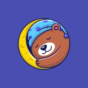 Orso sveglio che dorme sull'illustrazione del fumetto della luna.