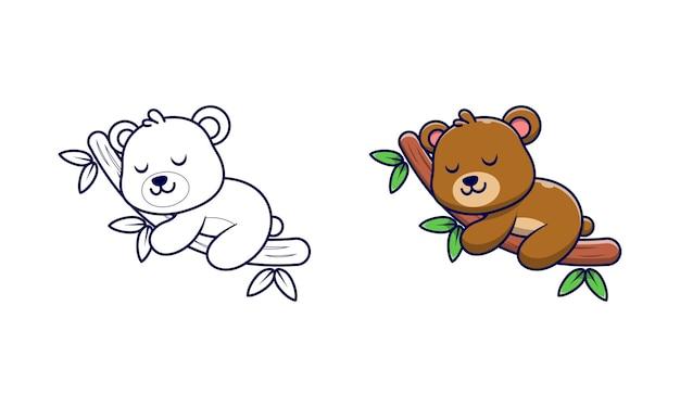 Simpatico orso che dorme su pagine da colorare di cartoni animati in legno per bambini
