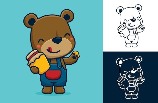 Simpatico orso in piedi mentre tiene in mano un vasetto di miele. illustrazione di cartone animato in stile icona piatta