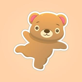 Simpatico orsetto adesivo cartone animato