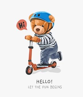 Simpatico orsetto giocattolo in sella a uno scooter