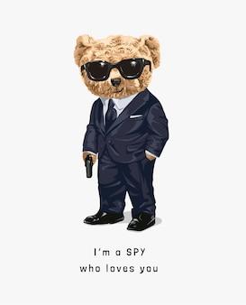 Simpatico orso giocattolo nell'illustrazione del costume da spia