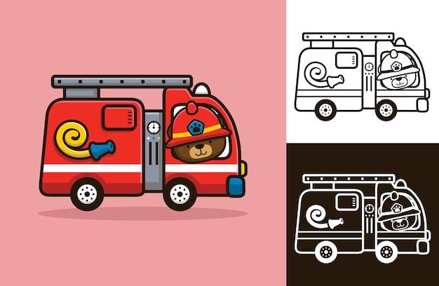 Simpatico orso che indossa il casco da pompiere alla guida di camion dei pompieri.