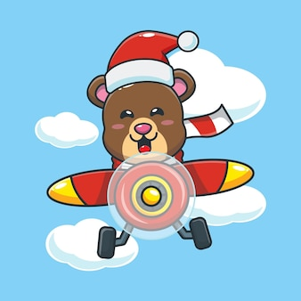 Simpatico orso che indossa il cappello di babbo natale vola con l'aereo simpatico cartone animato di natale illustrazione