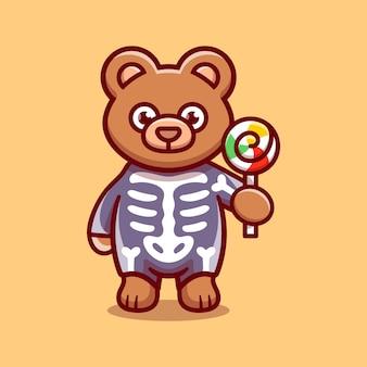 Simpatico orsetto che indossa un costume da scheletro di halloween e porta lecca-lecca