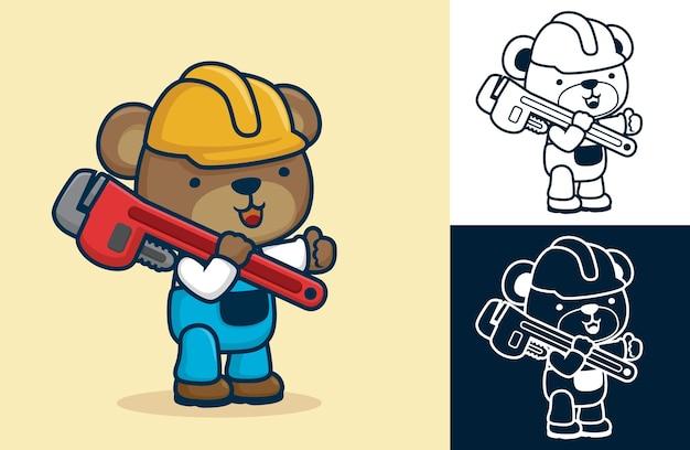 Simpatico orso che indossa il costume dell'operaio che trasporta una chiave grande. illustrazione del fumetto in stile icona piatta