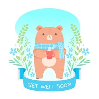Simpatico orso che desidera guarire presto