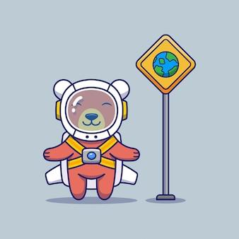 Simpatico orso con uniforme da astronauta e segno di terra
