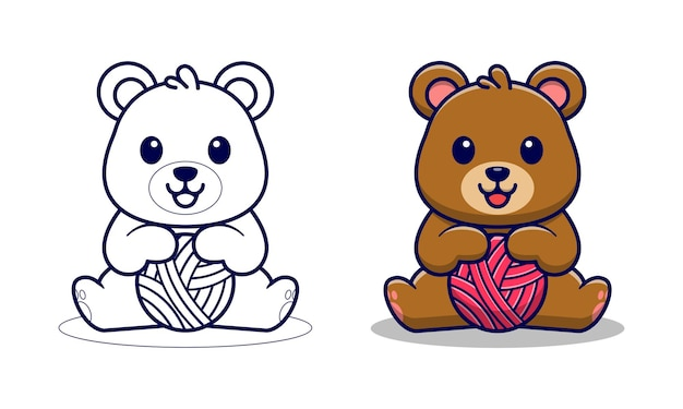 Simpatico orso con pagine da colorare di cartoni animati per bambini