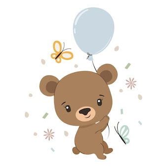 Simpatico orso con palloncino e farfalle
