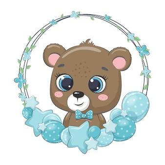 Simpatico orso con palloncino e ghirlanda