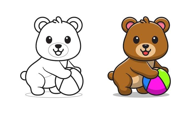 Simpatico orso con le pagine da colorare dei cartoni animati di pallone da spiaggia