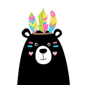 Simpatico orso con piume luminose in testa, immagine di un indiano.
