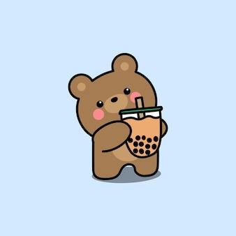 Simpatico orso con fumetto di bubble tea, illustrazione vettoriale Vettore Premium