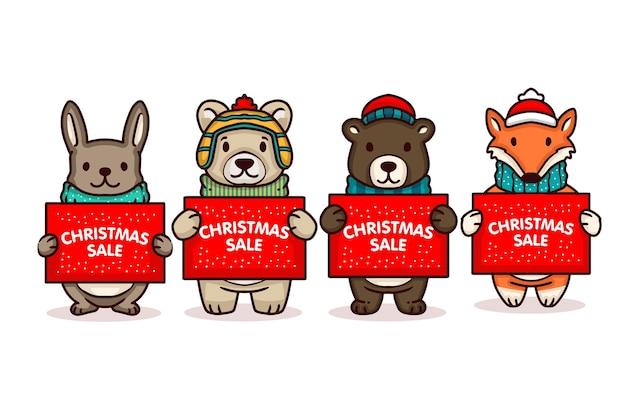 Simpatico orsetto con banner di vendita di natale