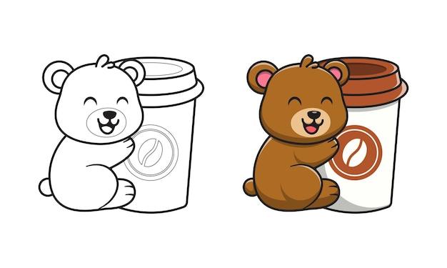 Simpatico orso con cartone animato di caffè per la colorazione