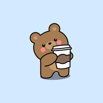 Simpatico orso con tazza di caffè cartone animato, illustrazione vettoriale