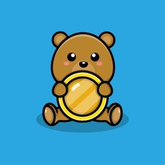 Simpatico orso con illustrazione di monete