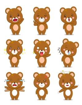 Simpatico orso con espressione diversa