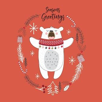 Simpatico orso con ghirlanda di doodle su sfondo rosso, illustrazione