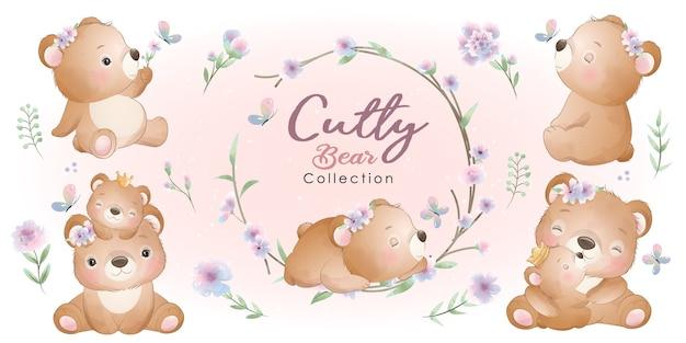 Simpatico orso con collezione floreale Vettore Premium