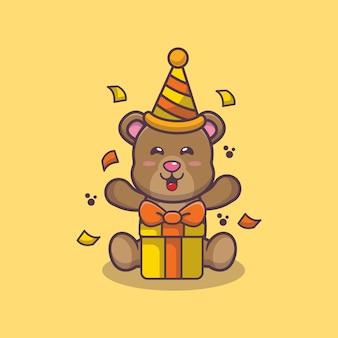 Simpatico orso con scatola regalo cartone animato illustrazione vettoriale