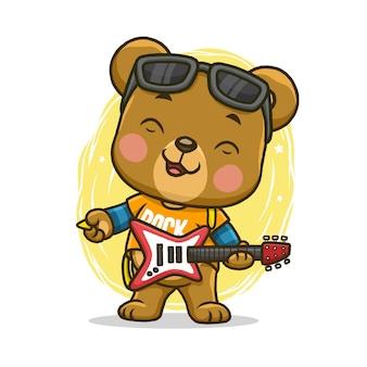 Simpatico orso con chitarra isolato su sfondo bianco.