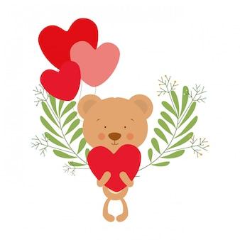 Simpatico orso con palloncini ad elio