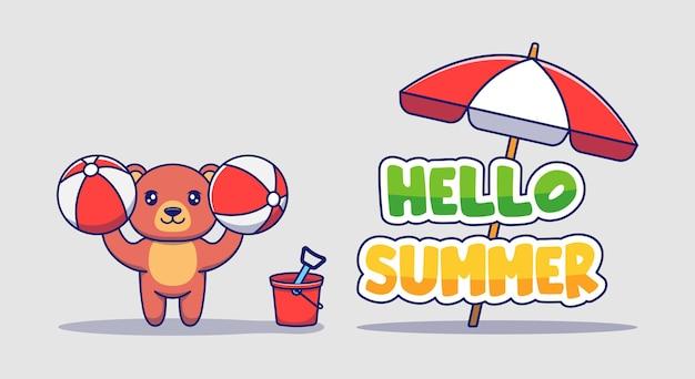 Simpatico orso con ciao banner di auguri estivo summer