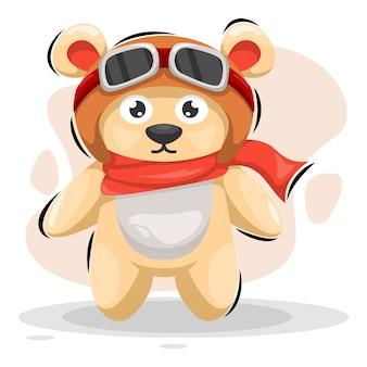 Simpatico orso con casco mascot cartoon