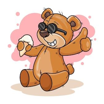 Orso sveglio con l'illustrazione dell'icona del fumetto del gelato. icona animale concetto isolato su sfondo bianco