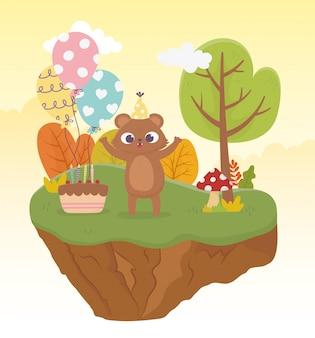Orso carino con illustrazione di giorno felice celebrazione palloncini torta cappello festa