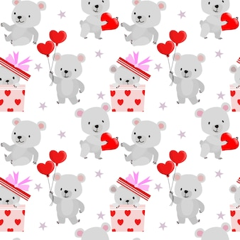 Simpatico orso con forma di cuore rosso modello senza cuciture di san valentino.