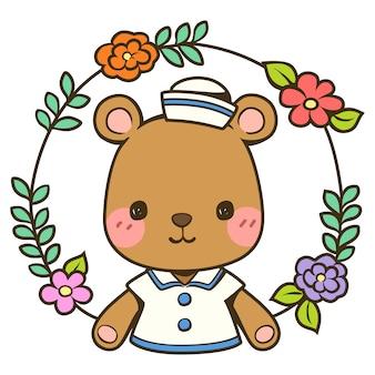 Simpatico orso con una corona di fiori