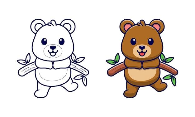 Simpatico orso su pagine da colorare cartoni animati di legno per bambini
