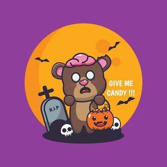 Simpatico orso zombie vuole caramelle simpatica illustrazione di cartone animato di halloween