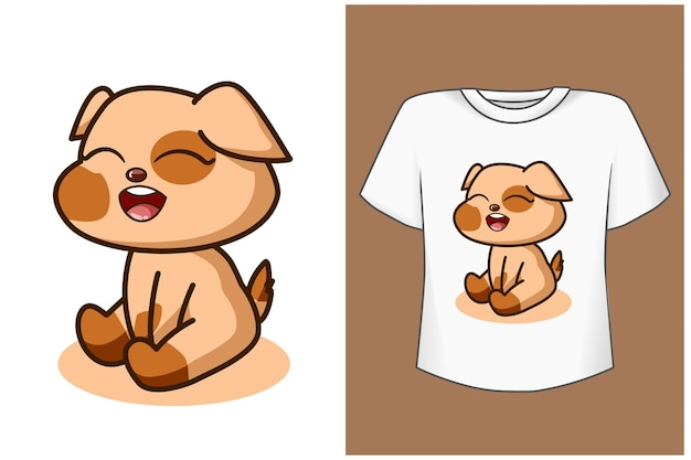 Illustrazione di cartone animato carino e bellissimo cane bambino