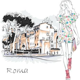 Ragazza carina bella moda in abito estivo sulla tipica strada romana con alberi di pino cembro nella città vecchia di roma, italia.