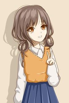 Ragazza carina e bella capelli castani che indossa l'illustrazione del fumetto del personaggio di design uniforme