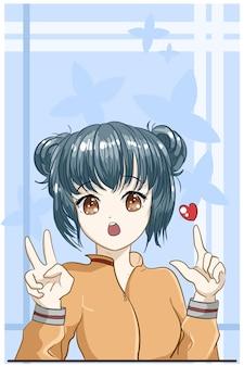 Capelli blu scuro della ragazza carina e bella con il fumetto di amore