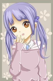 Illustrazione del fumetto del personaggio di design dei capelli viola della ragazza carina e bella