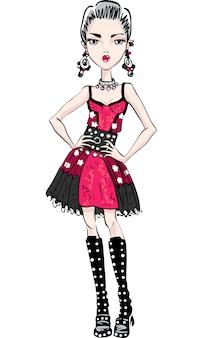 Bella ragazza carina in abito rosso e nero