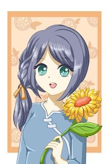 Ragazza carina e bella con il girasole nell'illustrazione del fumetto del personaggio di design estivo