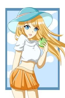 Ragazza carina e bella capelli gialli con mela nell'illustrazione del fumetto del personaggio di design estivo