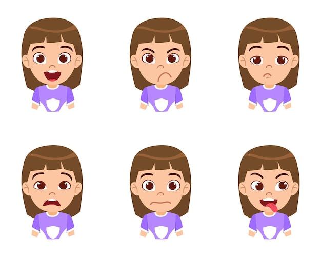 Carattere di ragazza carina bellissimo bambino che mostra emozioni e diverse espressioni facciali con bella t-shirt