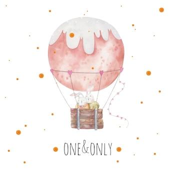 Conigli carini e belli che abbracciano in un palloncino, carta per il giorno di san valentino