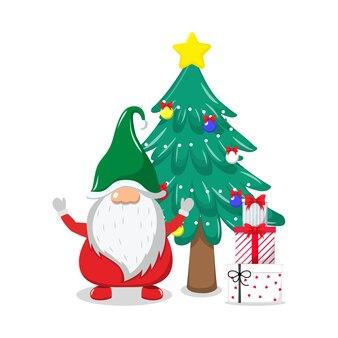 Simpatico bellissimo babbo natale che celebra allegri carismi con albero di chiasma e scatole regalo e agitando