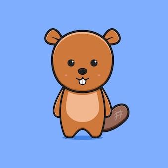 Simpatico castoro carattere animale icona del fumetto illustrazione. design piatto isolato in stile cartone animato