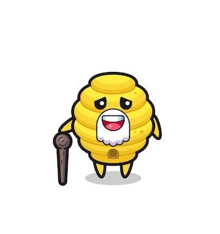 Il simpatico nonno dell'alveare tiene in mano un bastone, un design carino